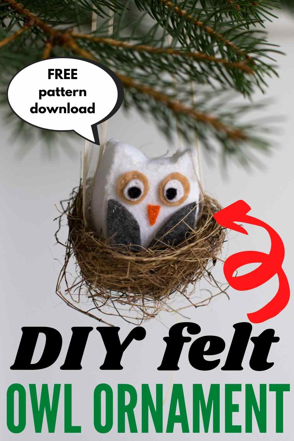 DIY felt owl Christmas ornament