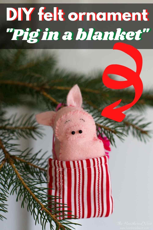 DIY felt pig Christmas ornament