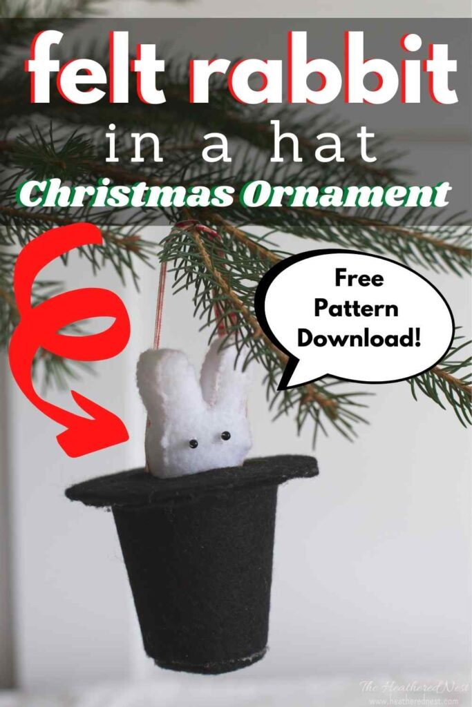DIY felt bunny rabbit in a hat Christmas ornament