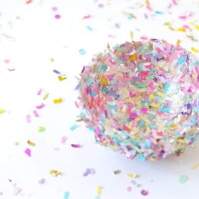 Confetti bowl on white surface