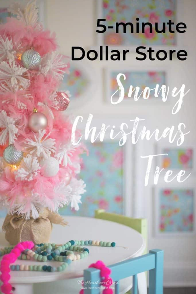 Get the look of a snowy Christmas tree from Dollar Tree in about 5-minutes. This simple Christmas hack creates the most gorgeous, soft fluffy white (or pink!) tree!#snowychristmastree #DIYsnowychristmastree #snowychristmastreeideas #whitechristmastree #dollartreechristmas #dollarstorechristmas #dollartreecrafts #DIYflockedtree #christmasdecorideas