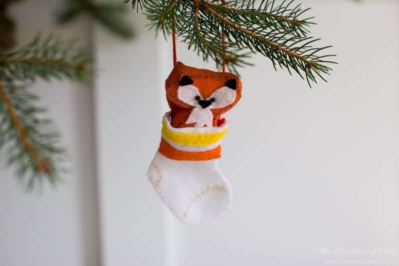 "Fox Ornament, Our little ""fox in socks"""