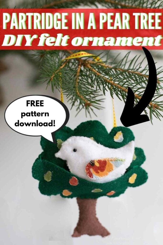 Partridge in a pear tree DIY felt Christmas ornament craft