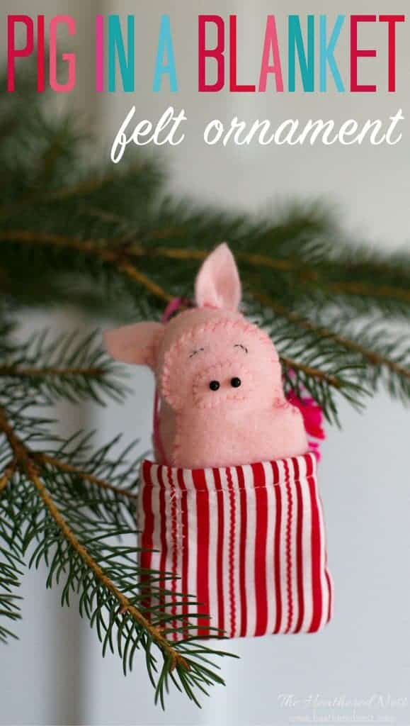 "Precious ""Pig in a blanket"" DIY felt pig ornament. The pig is removable from it's blanket. Super cute pig ornament for Christmas!!"