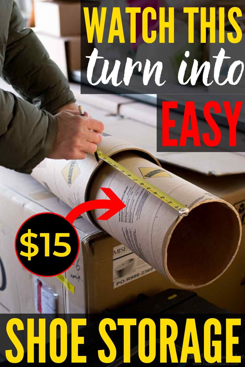 Easy DIY Shoe Storage Solution | DIY Shoe Cubbies from concrete tubes! Easy and inexpensive to make