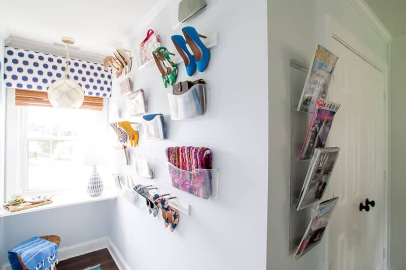 completed shot of our DIY wall mounted shoe rack project