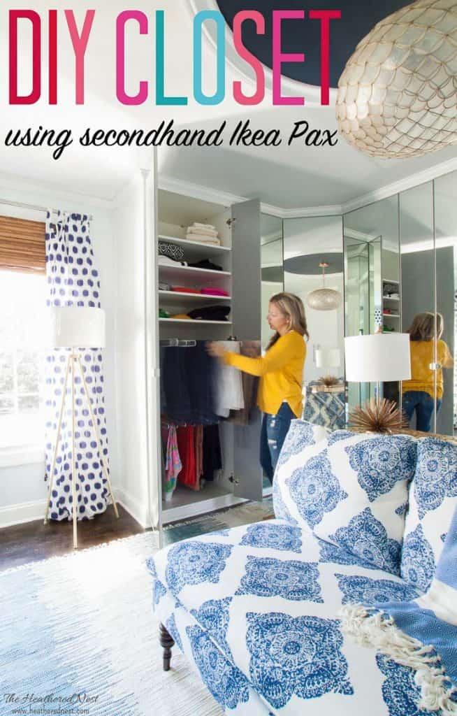 Use secondhand closet units and save THOUSANDS! This gorgeous dressing room DIY project was constructed with used Ikea Pax wardrobe system! BEAUTIFUL. LOVE the handbag and shoe storage!! #DIYcloset #Ikeaclosethack #Ikeaclosetsystem #DIYclosetideas #DIYclosetorganization #Ikeahacks #pax #komplement #upcycle #dressingroomideas #dressingroom #DIYdressingroom