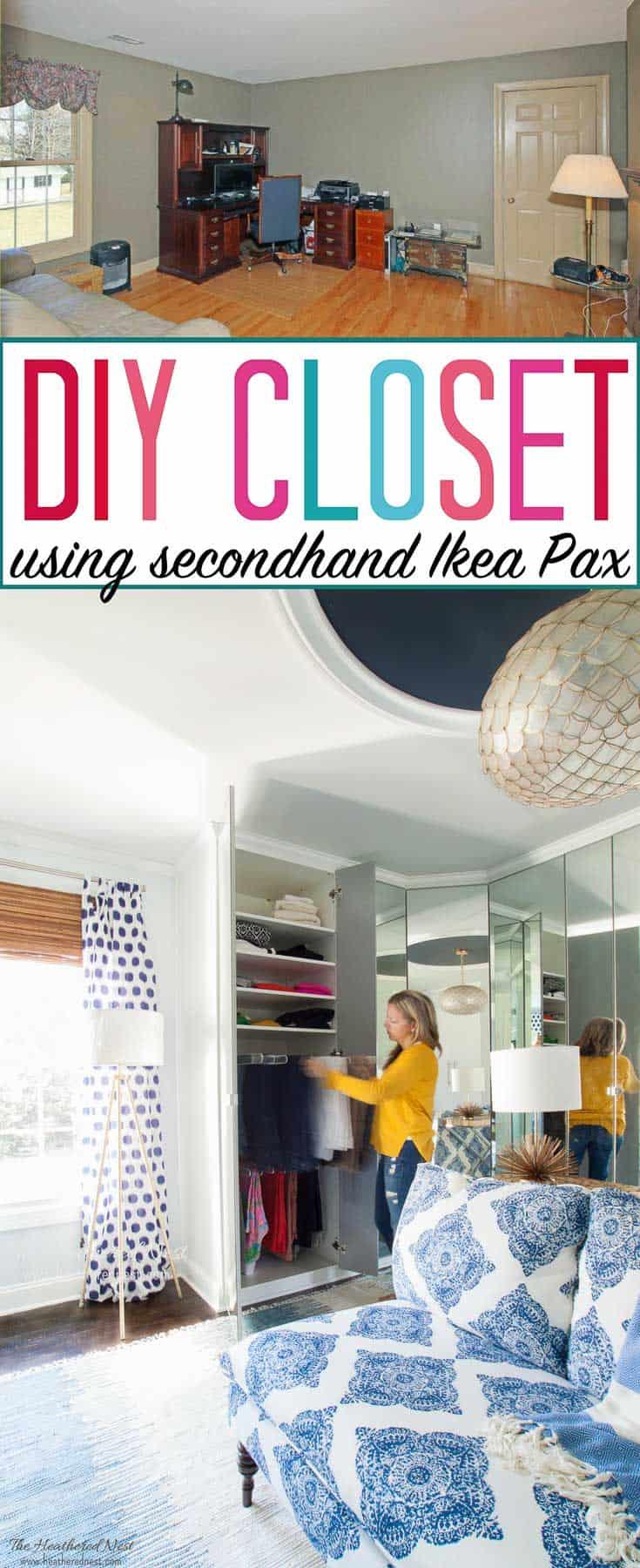 AMAZING walk-in closet design! And it's a DIY project using secondhand Ikea Pax wardrobe system! BEAUTIFUL. LOVE the handbag and shoe storage!! #DIYcloset #Ikeaclosethack #Ikeaclosetsystem #DIYclosetideas #DIYclosetorganization #Ikeahacks #pax #komplement