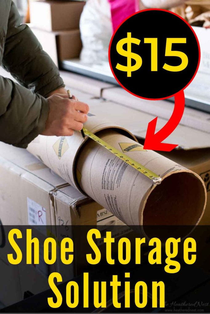 This is AWESOME. Inexpensive DIY shoe storage / DIY shoe cubbies made from concrete form tubes/sonotube! So smart!! This should only take an hour or so to put together. #shoestorage #shoeorganizer #shoecubbies #shoestorageDIY #shoestorageideas #shoeorganizingideas #shoeorganization