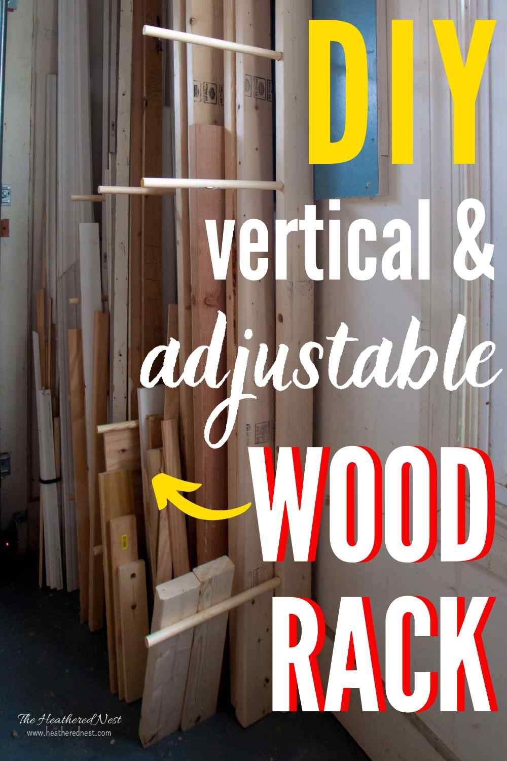 DIY Lumber Storage Rack. Stores Wood vertically to fit in small spaces, and is totally adjustable to accommodate lumber of various sizes.