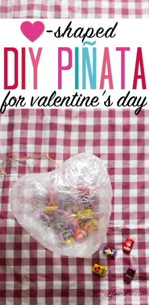 This is the easiest DIY piñata I've ever seen! What a cute DIY Valentine's Day idea for the kids! Make this heart-shaped piñata in 10-minutes. #DIYpiñata #howtomakeapiñata #alternativepiñata #easypiñata #heartpiñata #valentinecraftforkids #kidscrafts