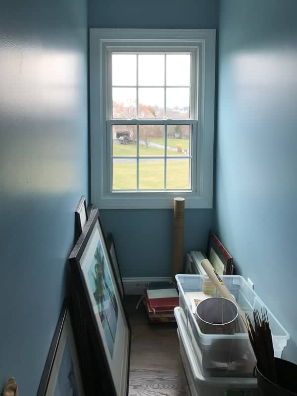 The dormer window area where we placed our DIY wall mounted shoe rack