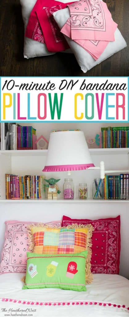 DIY pillow cover tutorial. Made from one dollar store bandanas! Adds fun, color & pattern to any space, indoor or out! #bandanaDIY #bandanadecor #bandanacrafts #bandanaprojects #bandanaideas