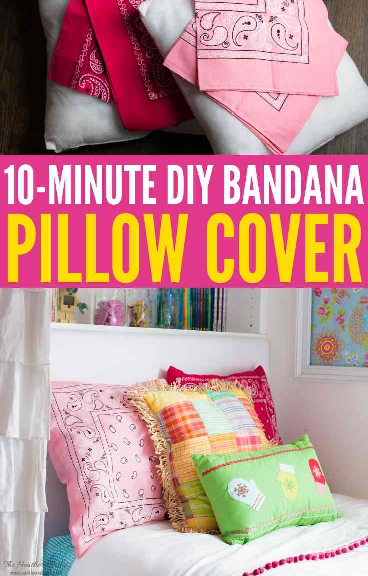 A Pillow You Can Make in about 10-minutes, no cutting required! DIY pillow cover tutorial. Made from one dollar store bandanas! Adds fun, color & pattern to any space, indoor or out!