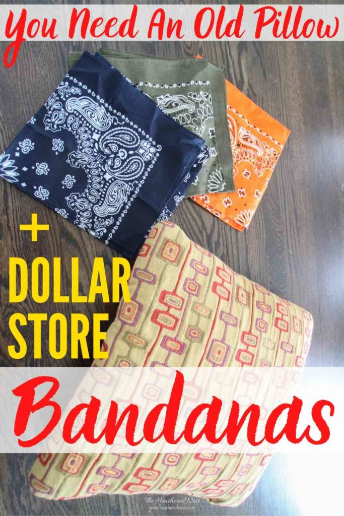 DIY bandana pillows! This colorful, fun Dollar Store craft is quick, easy & Great for indoors or outdoors.