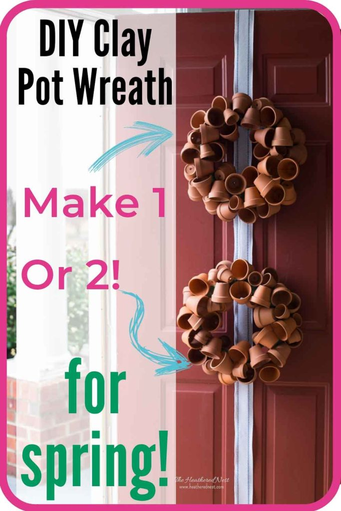 A DIY Terra Cotta Pot Spring Wreath Tutorial! Make a beautiful DIY wreath with mini-clay pots! A beautiful spring decor piece for your front door! #springwreaths #springwreathforfrontdoor #springwreathDIY #springwreathideas #claypotcrafts #ClayPotWreath #springwreath #wreathDIY #terracottapots #springdecor #TerraCottaWreath #HowToMakeATerraCottaClayPotWreath