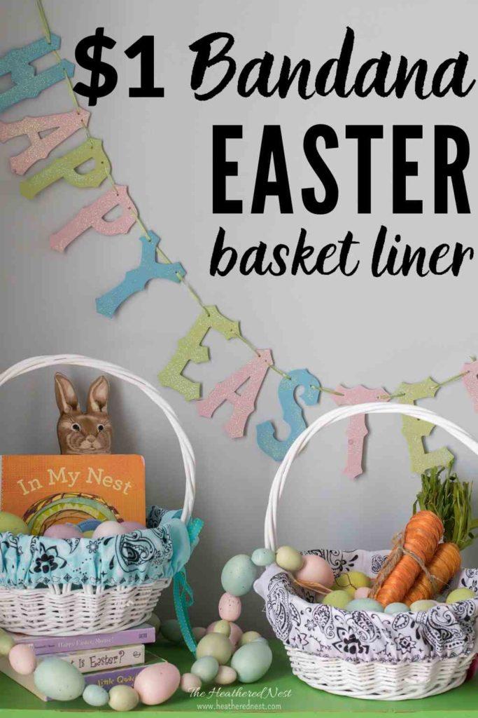 5-minute Easter basket liner from $1 bandanas! #dollarstorecrafts #basketliner #easterbasketideas #easyeastercraft #bandanascrafts #bandanacrafts