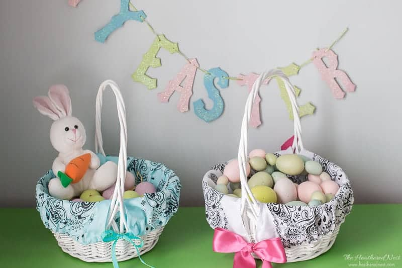 Quick and easy DIY bandana Easter basket liners!
