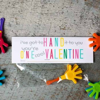 """I've gotta hand it to you, you're one cool Valentine! Free printable valentines! Just download, print and send them to school with your little one! If your school has gone """"candy-free for Valentines Day parties, this is a great alternative!! #printablevalentines #nocandyvalentines #candyfreevalentines #noncandyvalentinesideasforkids #DIYvalentines #freeprintables"""