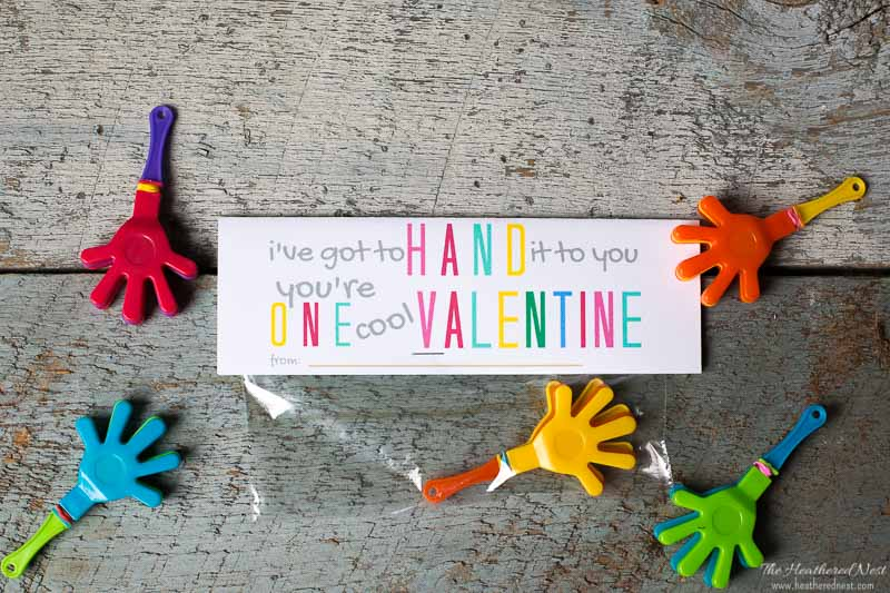 "I've gotta hand it to you, you're one cool Valentine! Free printable valentines! Just download, print and send them to school with your little one! If your school has gone ""candy-free for Valentines Day parties, this is a great alternative!! #printablevalentines #nocandyvalentines #candyfreevalentines #noncandyvalentinesideasforkids #DIYvalentines #freeprintables"