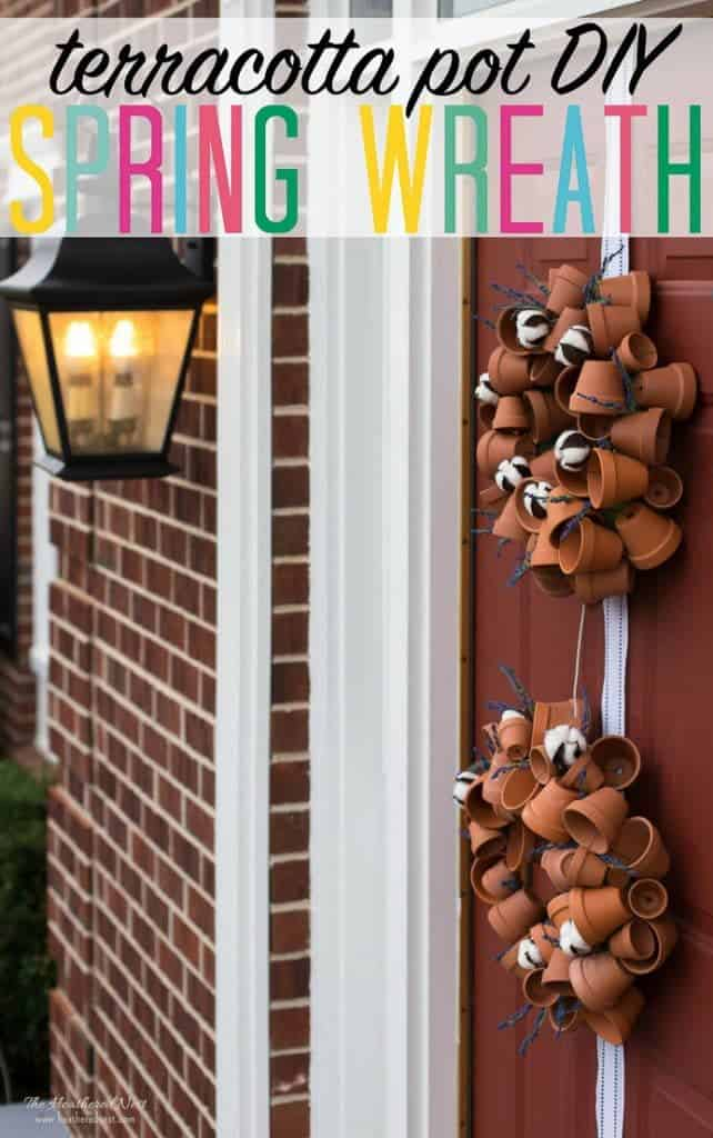 """two terra cotta clay pot spring wreaths hung on a red front door """"terracotta pot DIY spring wreath"""""""