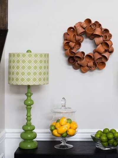 DIY terracotta pot spring wreath
