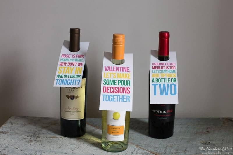 Free printable date night wine tags | Valentine wine tags...fun idea for date nights or gift for your Valentine!