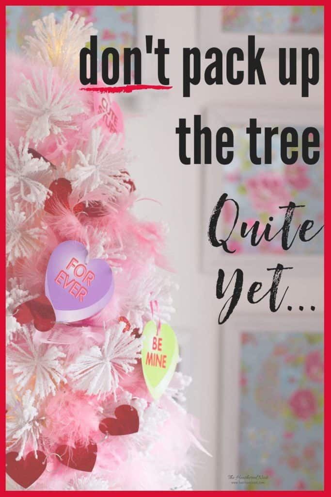 Super easy, super sweet Valentine tree! Why? Why NOT?! Make that cute tree a year round thing, I say!! #valentinetree #valentinedecorations #valentinesdaydecor #dollarstorevalentinecraft #valentinecraft #DIYvalentine #valentinehearts