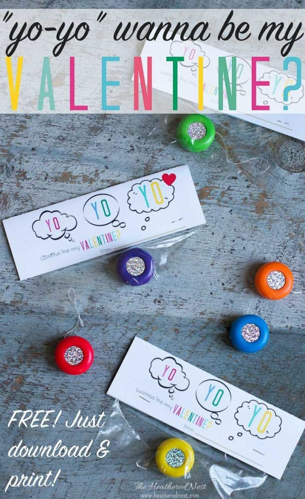 Yo Yo valentine printables! Cute & perfect for schools that won't allow candy! Just download & print! #freeprintables #DIYvalentines #kidvalentine #valentinecrafts #valentineprintables