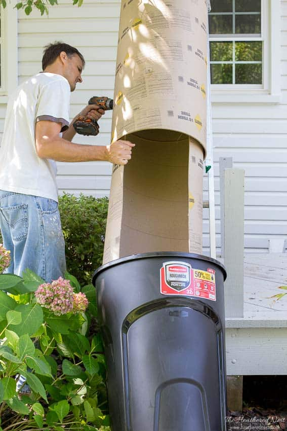 Great idea for DIY projects and renovations! A DIY trash chute / garbage chute to dump all your construction or demolition debris out the window instead of hauling it through the house!! #DIY #trashchute #garbagechute #demolition #concreteformtubes