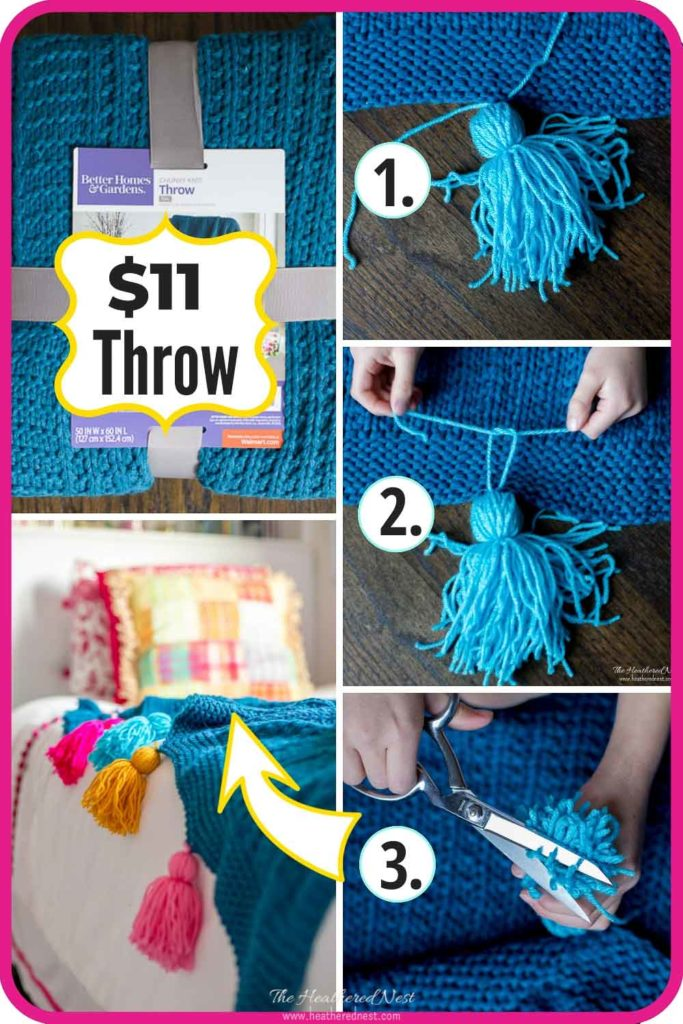 This DIY Tassel Throw Blanket Is Adorable, Colorful And Super Easy To Make! Tutorial Shows You How To Make Your Own Tassels And Add Them In Minutes. #DIYtassel #DIYtasselthrow #tasselthrow #DIYtassels #tasseltutorial #ColorfulHomeDecorIdeas #ColorfulDIY #tasselproject #tasselideas