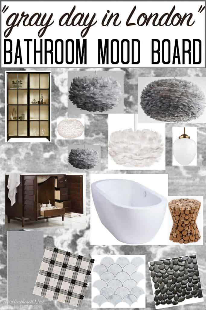 "Ooohh isn't this master bathroom mood board gorgeous? The inspiration is ""London on a gray day"" and I'm digging the vibe! If you're wanting black and white bathroom ideas, or grey and white bathroom ideas, this post is a great place to head to now! #bathroomideas #bathroomdesign #blackandwhitebathroom #greyandwhitebathroom #grayandwhitebathroom #popularmoodboards #bathroommoodboard"