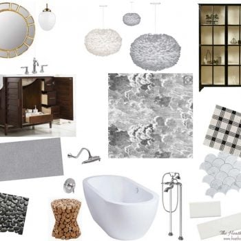 """Ooohh isn't this master bathroom mood board gorgeous? The inspiration is """"London on a gray day"""" and I'm digging the vibe! If you're wanting black and white bathroom ideas, or grey and white bathroom ideas, this post is a great place to head to now!"""