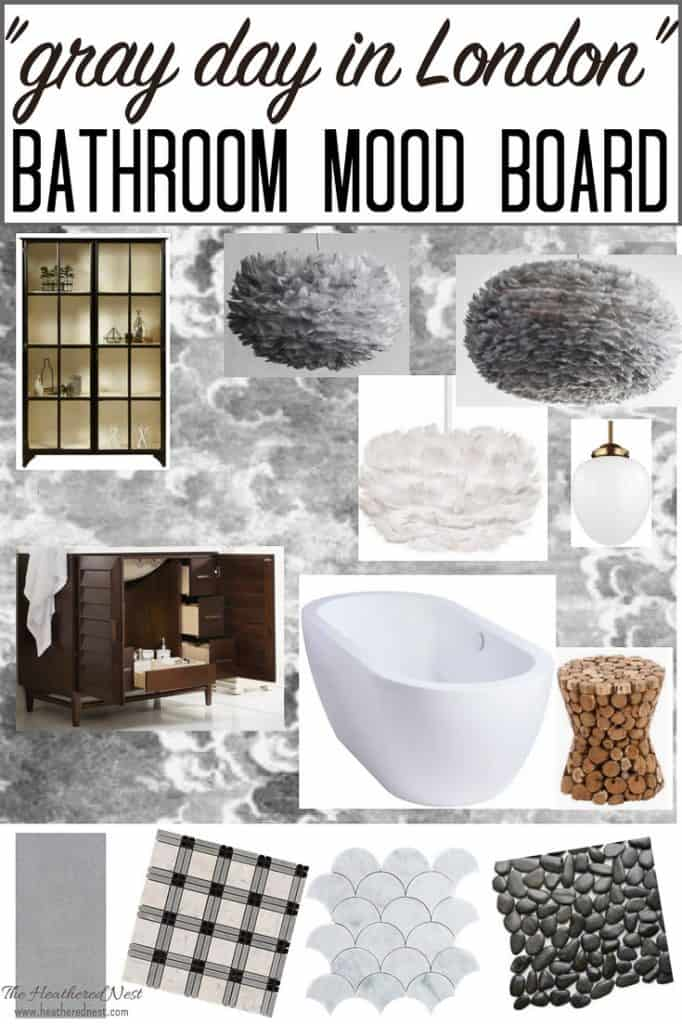 "Ooohh isn't this master bathroom mood board gorgeous? The inspiration is ""London on a gray day"" and I'm digging the vibe! If you're wanting black and white bathroom ideas, or grey and white bathroom ideas, this post is a great place to head to now!"