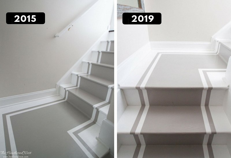 Painted stair treads 5 years later - an update! How durable are DIY painted stairs? Here are your answers!
