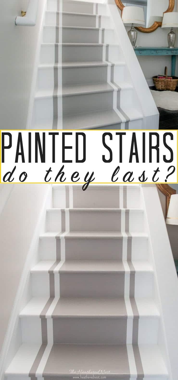 Painted stairs 2 years later - an update! How durable are DIY painted stairs? Here's your answer. #paintedstairs #DIYpaintedstairs #DIYpainting #howtopaintstairs #paintedstairrunner