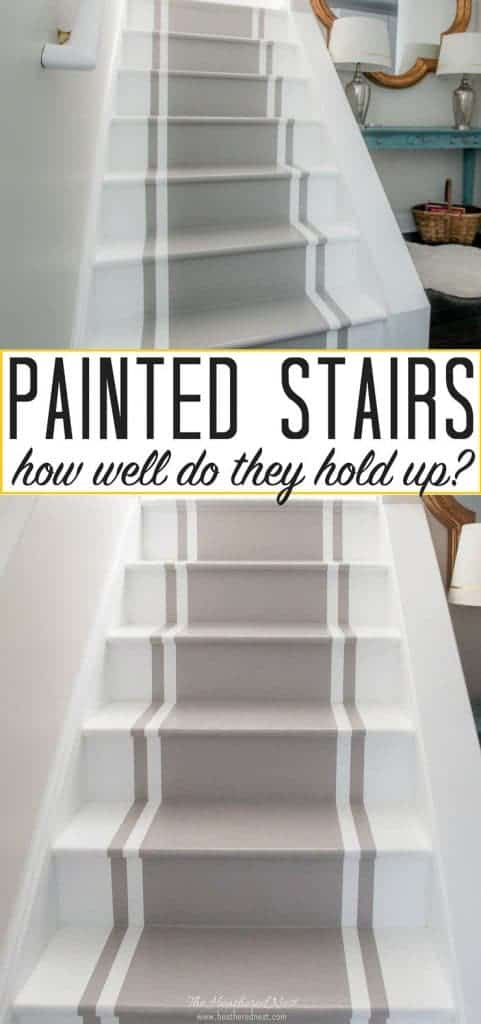 Painted stairs 5 years later - an update! How durable are DIY painted stairs? Here's your answer. #paintedstairs #DIYpaintedstairs #DIYpainting #howtopaintstairs #paintedstairrunner