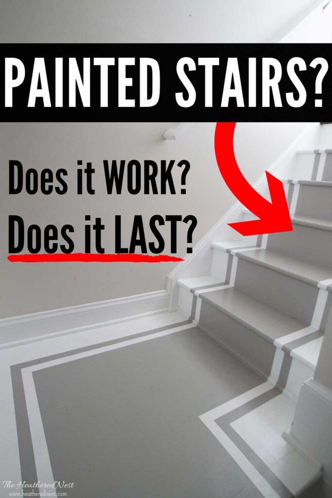 Painted Stair Treads Pros and Cons - how durable are painted stairs? How do painted stair treads hold up over time? What are the pros and cons of painting stairs?
