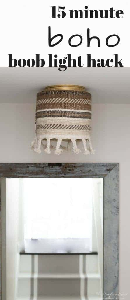 Boob light bleak to boho chic in minutes!! Cover your ugly ceiling light / flushmount boob light in MINUTES with this easy, inexpensive boho decor #DIY #booblight #homehack - no tools required!! #uglyceilinglightcover #coveruglyrentalshades #boholighting #bohochic #bohostyle #bohemianlighting #DIYlighting #popularlighting
