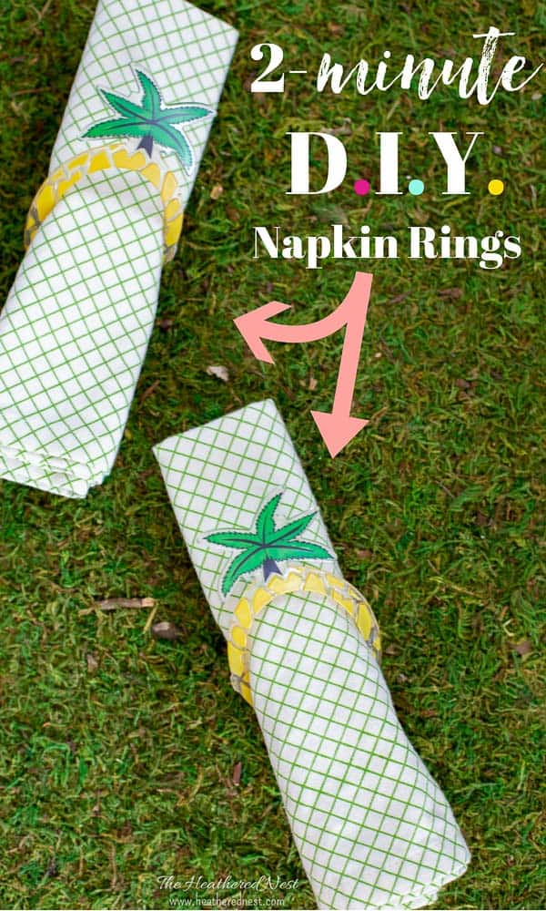 """two napkins with summery palm tree napkin rings on grass """"2-minute DIY napkin rings"""""""