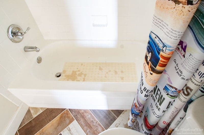 Did you know you could paint tile? Yep. We tried bathroom tile paint. See how our painted tile DIY project looks 3 years later! #tilepaint #paintedtile #bathroomtilepaint #rustoleum #howtopainttile