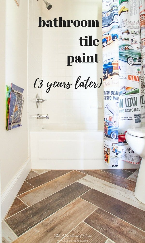Did you know you could paint tile? Yep. We tried bathroom tile paint. See how our painted tile DIY project looks 3 years later!