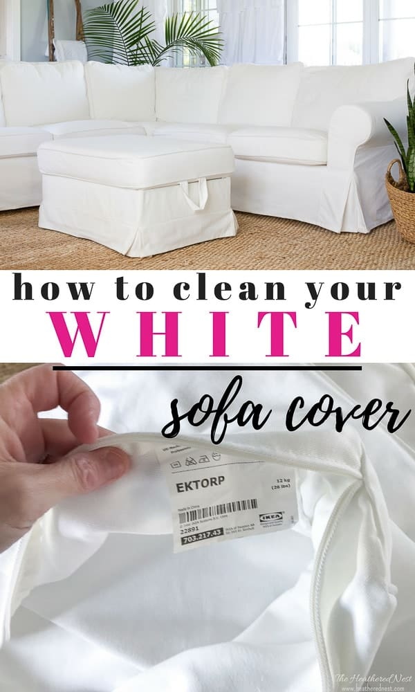 Want a white sofa but scared about keeping it clean? Here's how to clean the Ikea Ektorp sofa covers. I use this process several times a year and our white couch looks great after years of use! #ektorpsofa #ektorpsectional #ektorpsofareview #ektorpsofawithkids #cleaningwhiteslipcovers #cleaningektorpsofacovers