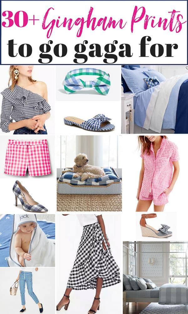 30+ of the best gingham print items for your home and closet, kids and even pets. #gingham #buffalocheck #plaid #ginghamdress #ginghampants #ginghamshorts #ginghambedding