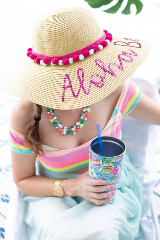 Easy DIY Beach Hat with Pom Pom Trim for Summer