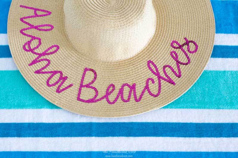 Close up of beach hat before adding pom pom trim