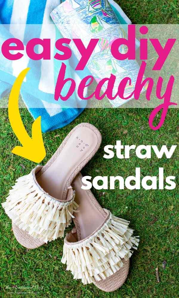 DIY Straw Sandals...using a Dollar Tree find!