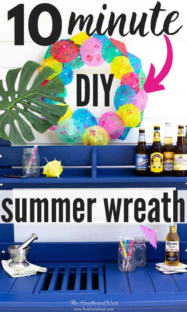 Done in 10-minutes. Check out how flipping cute this inexpensive DIY summer wreath is!