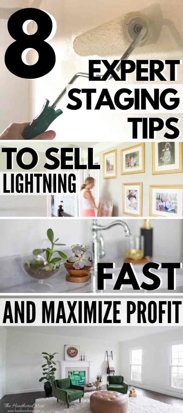 8 expert house staging tips to help you sell your home lightning fast and maximize your profits! Super helpful DIY home staging ideas from a real estate expert with experience renting, buying, selling, staging and designing homes and interior spaces.
