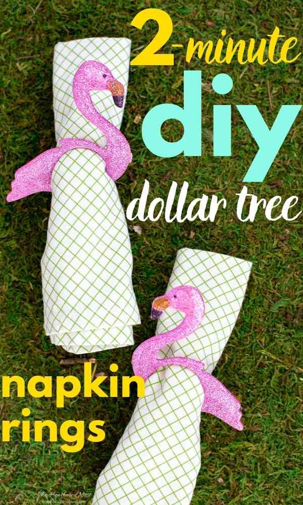Easy 2-minute dollar tree summer napkin ring craft hack